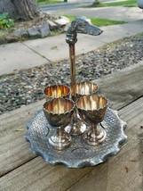Antique Rare Reed & Barton 4 Egg Cup Server w Dog Finial Handle Silverpl... - $349.00