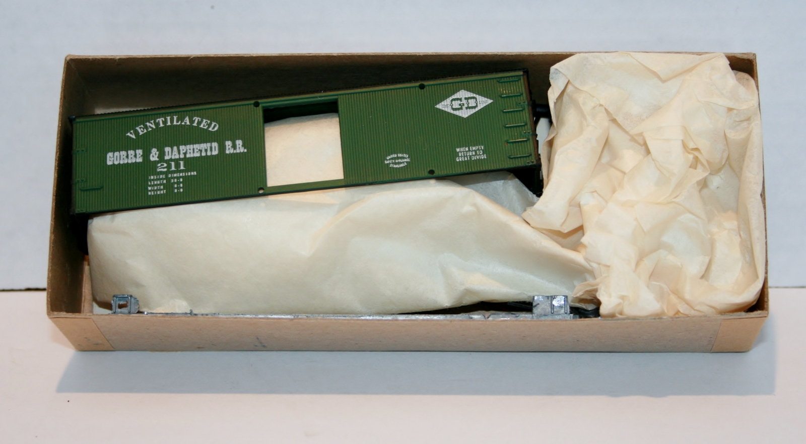 MDC, 36' Ventilated Box Car, Gorre & Daphetid R.R. Kit, Green Item 1008 NIB, 211