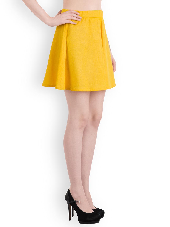 Rider Republic Women's Yellow Flare Pleated Skater Skirt