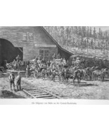 PACIFIC RAILROAD Station Stagecoach Transport to Nevada - 1883 German Print - $21.60