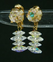 Peach Clear AB Crystal Bead Beaded Gold Tone Dangle Clip Vintage Earrings - $19.79