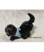 FENTON ART GLASS EBAY EXCLUSIVE OPAL SATIN BLACK LAB WITH BLUE AND WHITE SCARF F - $55.00