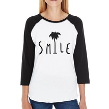 Smile Palm Tree Baseball Tee For Women Unique Design Summer Top - $19.99