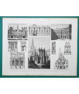ARCHITECTURE French Renaissance Tuilleries Orleans Paris - 1870 Engravin... - $16.20