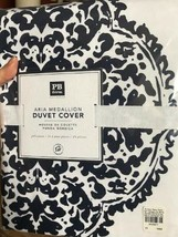 Pottery Barn Teen Aria Medallion Duvet Cover Navy Blue Queen 2 Standard Shams - $139.00