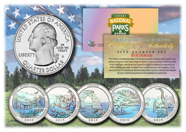 2014 America The Beautiful HOLOGRAM Quarters U.S. Parks 5-Coin Set w/Cap... - $12.82