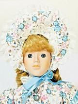 Vintage Porcelain Doll Maiden Dress Blonde Curly Ringlets with Bonnet - $24.74