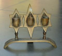 Judaica Shabbat Candlestick 3 Candle Holder Vintage Israel Hen Holon Signed 60's image 2