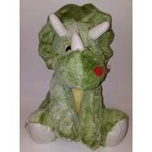"Best Made Toys Green Dinosaur Triceratop Plush 14"" Stuffed Animal Lips Valentine - $19.75"