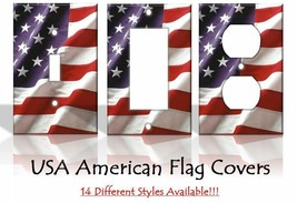 American Flag USA America Patriotic Light Switch Covers Home Decor Outlet - $6.92+
