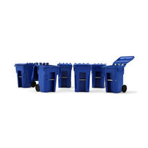 Set of 6 Blue Garbage Trash Bin Containers Replica 1/34 Models by First ... - $22.49