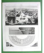 ARCHITECTURE Buildings on Forum Romanum Colosseum - 1844 Original Print - $22.95