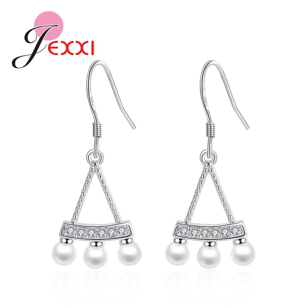 Primary image for Various Natural Black White Imitation Pearl Genuine 925 Sterling Silver Drop Ear