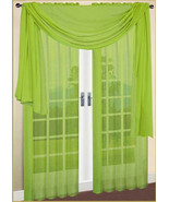 """SET OF 2 SHEERS VOILE CURTAINS 84"""" LONG LIME GREEN - $10.88"""