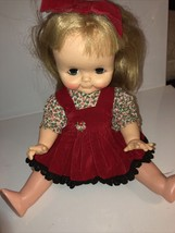 Vintage Baby Doll In Red Bow - $14.84