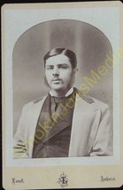 Cabinet Card Well Dressed Man With Long Side Burns Photographer Lovell A... - $19.55