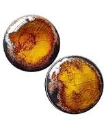 Pair - Amber Gold Flake Glass Ear Plugs Organic Copper Adventurine Handm... - $27.18