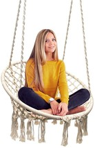 Beige Hanging Cotton Rope Macrame Hammock Chair Swing Garden 265 Pound C... - $94.99