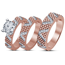 Special Designer Jewellery 14k Rose Gold Over 925 Silver His Her Trio Ring Set  - $169.99