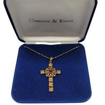 Camrose Kross JBK Jacqueline Jackie Kennedy Red Faux Ruby Cross Necklace... - $59.39