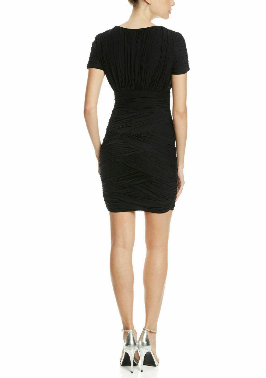 NWT WOMEN Halston Heritage  Ruched Short Sleeve Jersey Mini XS Dress $395 image 2