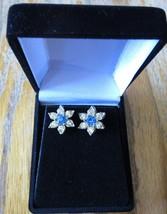Vintage Faux Sapphire Costume Fashion Rhinestone Star Clip On Earrings - $24.99