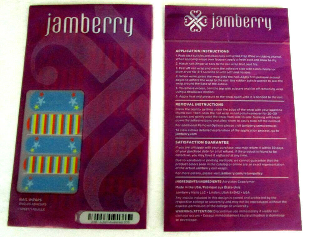 Primary image for Jamberry Nail Wraps Autism Awareness 2015 Blue Purple Red Green Stars
