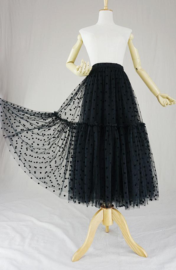 Black dot tulle skirt midi 3