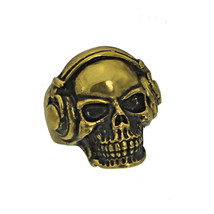 DJ Skull Ring Bass Beats Headphones 24K Gold Plated Black Effect Jewelry... - $133.94