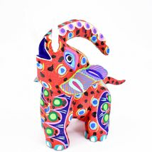 "Handmade Alebrijes Oaxacan Painted Carved Wood Folk Art Elephant 6"" Figure image 3"