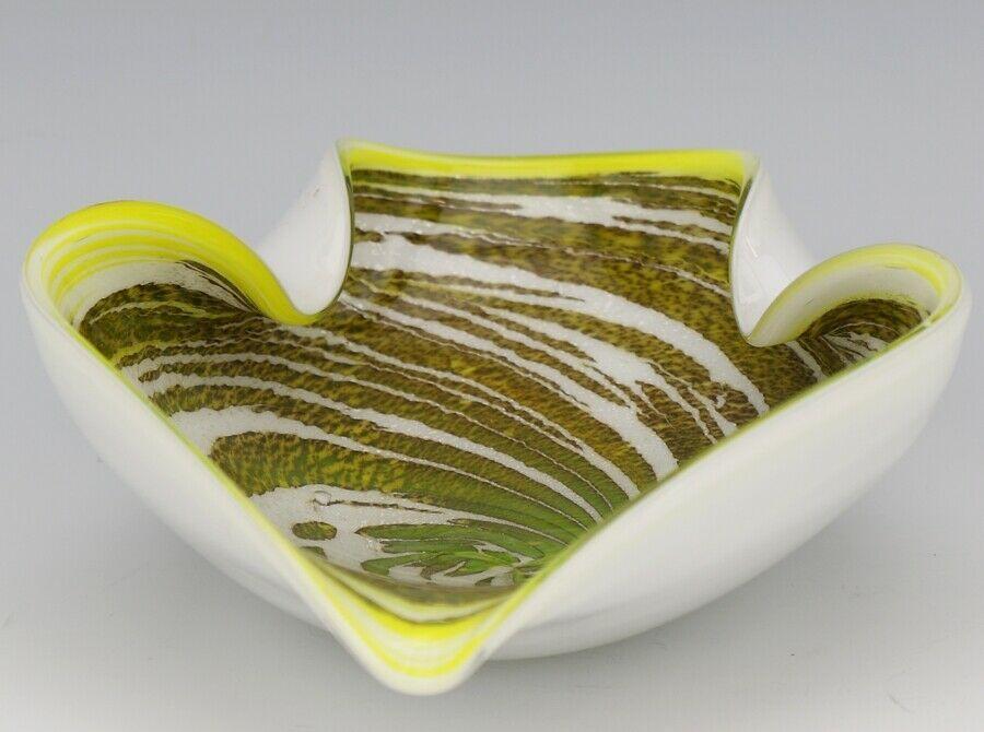 Vintage Yellow Swirl Murano Glass Decorative Ashtray