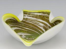 Vintage Yellow Swirl Murano Glass Decorative Ashtray image 1