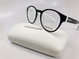 New Calvin Klein Jeans CKJ300 018 Black & White Eyeglasses 47mm with Case - $74.25