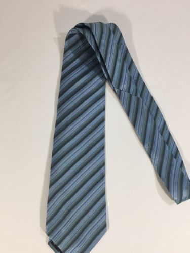 Alfani Men Light Blue Tie Silk Black Striped Size 58 Length 3 Inches width