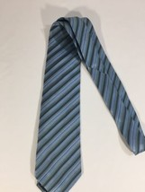 Alfani Men Light Blue Tie Silk Black Striped Size 58 Length 3 Inches width - $9.50