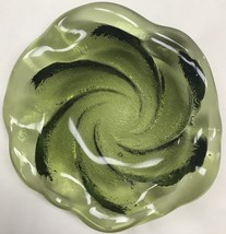 Vintage Fenton Green Art Glass Small Bowl Dish Ashtray Hand Crafted - $29.70