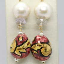 Yellow Gold Earrings 750 18K Pearls Fw Ceramics Hand Painted by Made in Italy image 2