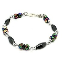 Bracelet the Aluminium Long 19 Inch with Hematite and Crystal Colorful image 2