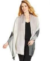 Style & Co Scarf Sz OS One Size Black Silver Multi Color Rayon Blend Cas... - $14.27
