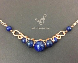 Handmade lapis lazuli necklace: criss cross copper wire wrapped image 4