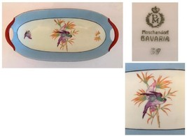 PM Moschendorf Bavaria Oblong Tray Hand Painted Parrots - $72.00