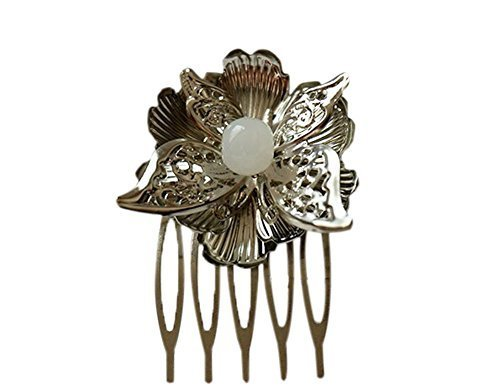 Set Of 2 Charming Traditional National Slivery Butterfly Hair Combs Accessory
