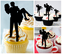 Wedding,Birthday Cupcake topper,silhouette loving couple hugging : 10 pcs - $10.00
