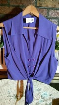 """JOULE"" Energy Ladies Large Purple Crop Top Tie Hem Button Front Sleeveless NWT - $16.81"