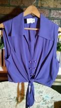 """JOULE"" Energy Ladies Large Purple Crop Top Tie Hem Button Front Sleevel... - $16.81"