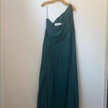 Davids Bridal Solid Green One Shoulder Dress - $38.61