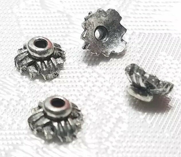 4pcs. Fine Pewter Bead Caps - 3x6x6mm; Hole 1mm