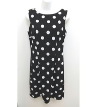 Alyx Womens Sz 10 Dress Sheath Black White Polka Dot Sleeveless Career P15 - $18.99