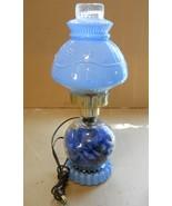 Vintage 14 in. PALE BLUE FLORAL Art Glass BOUDOIR TABLE LAMP Dresser Van... - $29.99