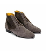 Handmade Men's High Ankle Lace Up Wing Tip Brogues Boots - $149.99+